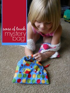 sense of touch game - mystery bag activity.  This would be a neat thing to do in a storytime.