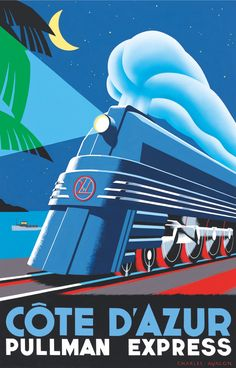 PEL302: 'Côte d'Azur - Pullman Express' by Charles Avalon - Vintage posters - Art Deco - Pullman Editions