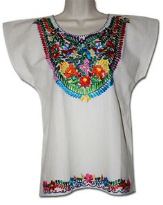 16eec02c4f99a One of my favorite Mexican blouses ever! Stunning embroidery. Mexican Blouse