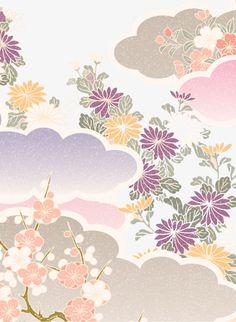 Warm Japanese pattern, Warm Color, Japanese-style, Pattern PNG and Vector Japanese Patterns, Japanese Fabric, Japanese Prints, Japanese Art, Japanese Style, Cloud Pattern, Japanese Cherry Tree, Japanese Drawings, Kimono Pattern