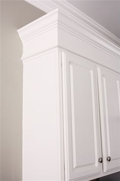 The Yellow Cape Cod: Making Cabinets Taller {Builder Cabinets Go Custom With Molding} want to take mine to the ceiling.no more dusting top of cabinets! Kitchen Cabinet Molding, Cabinet Trim, Top Of Cabinets, Refinish Kitchen Cabinets, Kitchen Redo, Cabinet Doors, Kitchen Remodel, Kitchen Design, Kitchen Cabinets Without Soffits