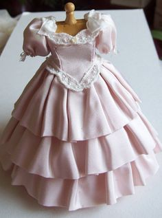Pink silk ball gown on mannequin 1/12th by JustForYouMiniatures, $88.00