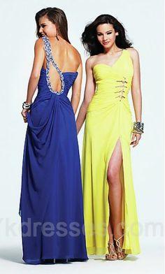 Long A-Line Natural Sleeveless Asymmetric Prom Dress ykdress4331