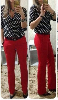 I'm not sure if I could be comfortable wearing red pants to work. Casual Work Outfits, Winter Outfits For Work, Business Casual Outfits, Office Outfits, Work Attire, Mode Outfits, Work Casual, Classy Outfits, Chic Outfits