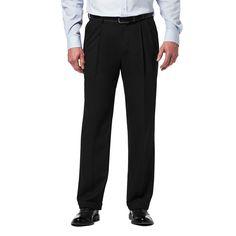Men's Haggar Premium Classic-Fit Stretch Pleated Dress Pants, Size: 36X32, Black