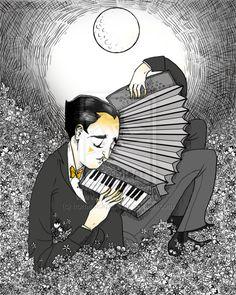 """Zeichnung mit dem Titel """"Serenade In The Night"""" von homesickpipe auf Deviant Art. Gewidmet der Primo Scala's Accordion Band. Stichworte: #Accordion #Art #Drawing #Illustration"""