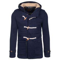 Pánsky zateplený kabát tmavo modrej farby s kapucňou - fashionday.eu