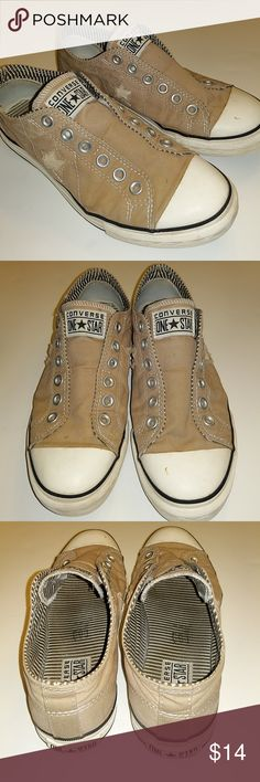 Converse  Tan shoes Cute Converse shoes Tan in color no lace needed has cutout star on both sides lightware size eight and a half Converse Shoes Athletic Shoes