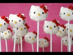 How to: Hello Kitty Cake Pops- attach CHOCOLATE CHIPS AS EARS before dipping