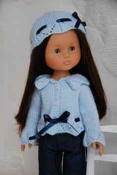 """Fiche tricot : Gilet et bonnet """"Anytime"""" pour poupées 32/33 cm - patron tricot - Le Dressing des Poupées - Fait Maison"""