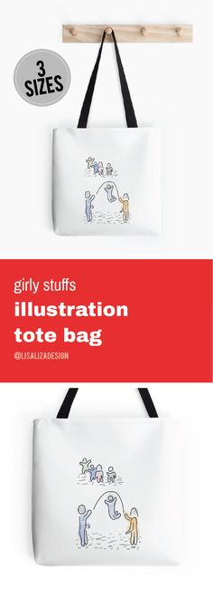 Jump Role Children Play Doodle  Girly stuffs Daily Lifestyle Illustration Tote Bag  Great gift ideas for women  (Also available in mugs, cups, shirts, duvet covers, acrylic block, purse,   wallet, iphone cases, baby onsies, clocks, Throw pillows, samsung cases   and pencil skirts.)  #Doodle #Illustration #Teens #WomenFashion #Giftideas #Present   #Grandma #Mom #Pouches #DrawstringBags #Holiday   #Holidaygifts #Lisaliza  #Womenfashion   #Teepublic #Redbubble #Bestfriend