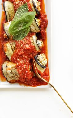 Vegan lasagna roll ups made with a protein-rich and…