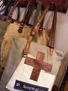 "Patched Over - Reclaimed Canvas Tote Bag 16"" W x 17"" H x 4"" D with 14"" Handle Drop"