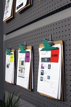 For an easy DIY office organization project, spray paint cheap clipboard metal clips and display them on a painted pegboard added to a the wall. Pegboard Organization, Home Office Organization, Home Office Decor, Office Ideas, Organization Ideas, White Board Organization, Diy Office Desk, Men Office, Retro Office