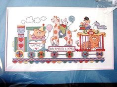 Vintage Bucilla Stamped Cross Stitch Kit Animal Circus Train Baby Birth Record UNOPENED by TreasuresPast4U