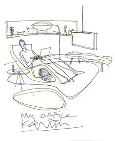 Image 35 of 47 from gallery of 42 Sketches, Drawings and Diagrams of Desks and Architecture Workspaces. Submitted by Karim Rashid Interior Design Sketches, Commercial Interior Design, Best Interior Design, Sketch Design, Design Design, Karim Rashid, Plywood Furniture, Furniture Design, Design Studio