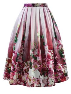 What can we say – just wow! Hot pink floral midi skirt Gathered waist with box pleats and a large puffy hemline  - Back zip closure - Lined - Pleated a-line silhouette