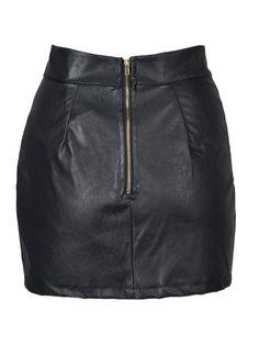 Shop Black Asymmetric Hem PU Slim Skirt from choies.com .Free shipping Worldwide.$8.99