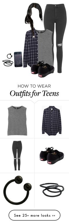 """Untitled #87"" by xrejectxx on Polyvore featuring Topshop, Band of Outsiders, Vans and Goody"