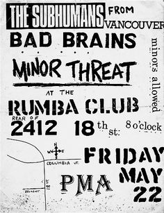 Subhumans, Bad Brains, and Minor Threat...OMFG! Flyer