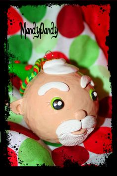 Hand sculpted clay Santa elf Christmas ornament made by me