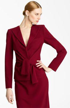 Oscar de la Renta Tie Waist Wool Crepe Jacket available at #Nordstrom - CAD $1651.68