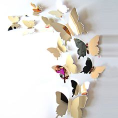 DIY Mirror-like 3D Butterfly Wall Stickers Mirror Art Decal PVC Paper for Home Showcase - 12Pcs (SILVER) | Sammydress.com