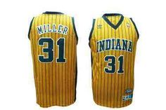 Reggie Miller Jersey, Indiana Pacers #31 Yellow Jersey  ID:501    $20