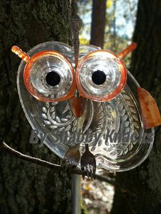 Whimsical Repurposed Owl by ShabbyKnacks on Etsy