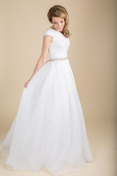Isabel - www.clairecalvi.com, claire calvi bride, modest wedding dress, #wedding #dress with #sleeves, ballgown, retro wedding, vintage wedding.  Available for $670.