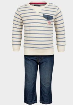 Boys' Long Sleeve Striped Top and Denim Blue Jeans Set  #shoppingonline #clothes #canadaonline #canada #fashion #instalikes #onlinestore #instagram #Oasislync #fashionista
