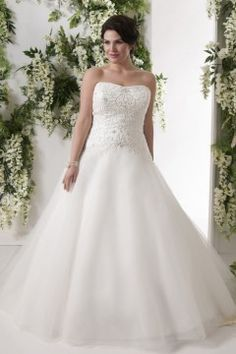 Unique A-line Court Train Strapless Tulle Fabric Plus Size Wedding Dresses with Beading Style yp115091703
