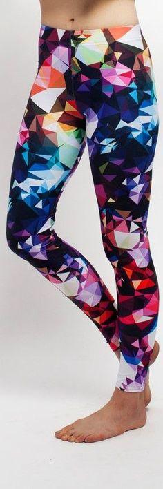 Print Yoga Leggings, Colorful Geometric Design