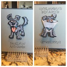 Front and inside of A Get Well Card using Tim Holtz Crazy Dogs