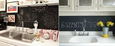 spülbecken mit einer kreidetafel hinunter - 41 interessante Küchenspiegel Ideen für die Wohnung