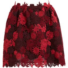 VALENTINO Floral Macramé Skirt (56,165 THB) ❤ liked on Polyvore featuring skirts, bottoms, valentino, faldas, floral knee length skirt, floral print skirt, red skirts, red floral skirt and flower print skirt