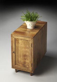 Indian Mango Chairside Chest with Wet Sand Finish