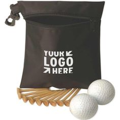 "Golf Essentials Pack  This essential golf kit is all you will need during your next golf outing to have the perfect day on the course! Our handy bag comes with 2 golf balls and nine 2 1/8"" golf tees! Includes 2 Authoritee (TM) balls, as well as multiple color choices for the tees and balls. Customize all items with an imprint of your brand name and logo - makes a great prize for golf tournaments, fundraisers and fans of the game!"