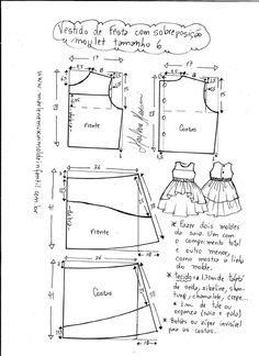 "Vestido manga copinho decote ""V"" nas costas - DIY- marlene mukai - molde infanti. Baby Girl Dress Patterns, Baby Clothes Patterns, Sewing Patterns For Kids, Dress Sewing Patterns, Sewing For Kids, Baby Sewing, Baby Patterns, Clothing Patterns, Fashion Kids"