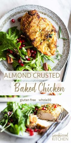 Almond and Herb Crus Almond and Herb Crusted Chicken / A almond flour coated baked chicken recipe packed with fresh herb flavors. Quick to make perfect for holidays! Almond Crusted Chicken, Almond Chicken, Good Healthy Recipes, Whole 30 Recipes, Free Recipes, Amazing Recipes, Healthy Foods, Healthy Life, Chicken Salad Recipe With Almonds