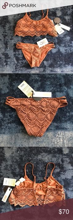 Society Amuse | Pixie Crochet Swimsuit Society Amuse | Beach Vida Bling | Crochet Swim Top and Bottoms | Brand New with Tags. Amuse Society Swim Bikinis