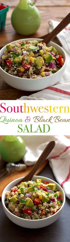 Easy southwestern quinoa and black bean salad uses leftover quinoa and takes just 15 minutes to make. The perfect quick and healthy lunch! #quinoasalad #southwesternsalad #blackbeansalad | Littlespicejar.com
