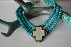 Brands :: David Troutman :: DAVID TROUTMAN SILVER CREATIONS MOTHER OF PEARL CROSS WITH TURQUOISE CHOKER NECKLACE - Native American Jewelry L...