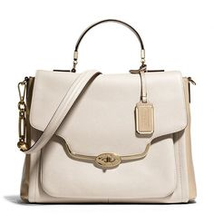 Coach Madison Sadie Flap Satchel In Spectator Saffiano Leather ($498) ❤ liked on Polyvore featuring bags, handbags, coach handbags, man bag, pink satchel handbags, pink handbags and pink hand bags