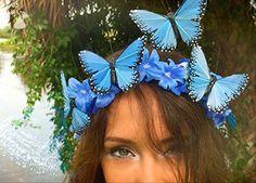 Blue Dream - Monarch Butterfly EDM Festival Headband, Butterfly Crown, Festival hair decor, Boho headband, Butterfly Fascinator, Blue Crown - Bridal hair accessories (*Amazon Partner-Link)