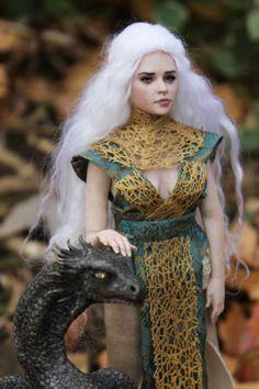OOAK Fairy tale Khaleesi and dragon P. Gibbons fairies art doll sculpture