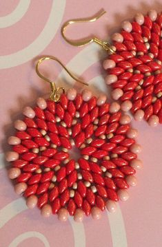 Seed Bead Earrings Peach and Red Disc Earrings by WorkofHeart