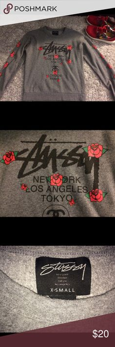 Stussy grey rose pullover Stussy grey rose pullover, worn a couple of times. Xs but fits small. Stussy Sweaters Crew & Scoop Necks