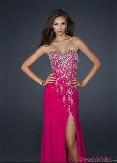 Fabulous Floor-length A-line Sweetheart Front Slit Beading Ruffles Chiffon Inexpensive Purple Prom Dresses Sale  PD-4161