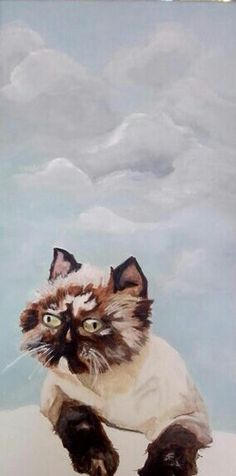 Cat is ready!  Oil paint 20x40  For sale